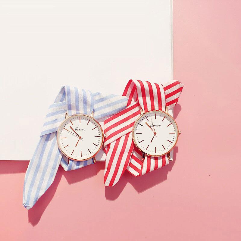 Модные женские кварцевые часы, с тканевым ремешком и лентой, 2017