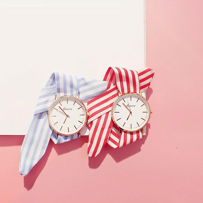 Brand Trend Ribbon Cloth Strap Women Fashion 2017 Creative Watch Womens Casual Watches Ladies Dress Quartz Wristwatch Feman