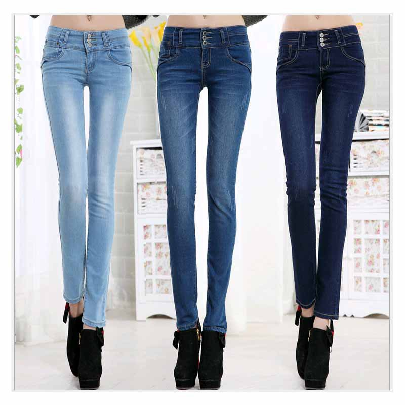 High Quality Long Jeans Girl single button Women Sexy Skinny Jeans Female denim Capris Girls Zipper
