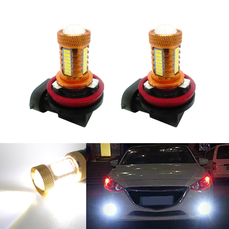 2X H11 <font><b>LED</b></font> canbus 4014 Bulbs Reflector Mirror Design For Fog <font><b>Lights</b></font> For <font><b>mazda</b></font> 3 5 <font><b>6</b></font> xc-5 cx-7 axela atenza image