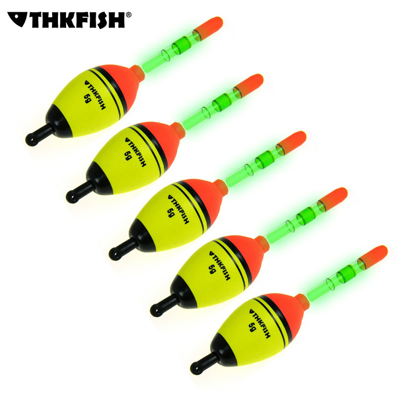 THKFISH Night Glowing Visserijvlotter 5 stks 5g EVA float + 10 stks - Visvangst