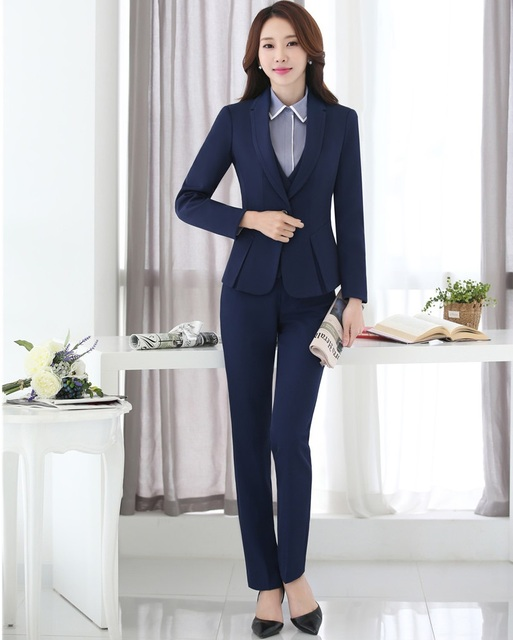 New 2018 Formal Ladies Black Blazer Women Business Suits With Pant And Jacket Sets Office ...