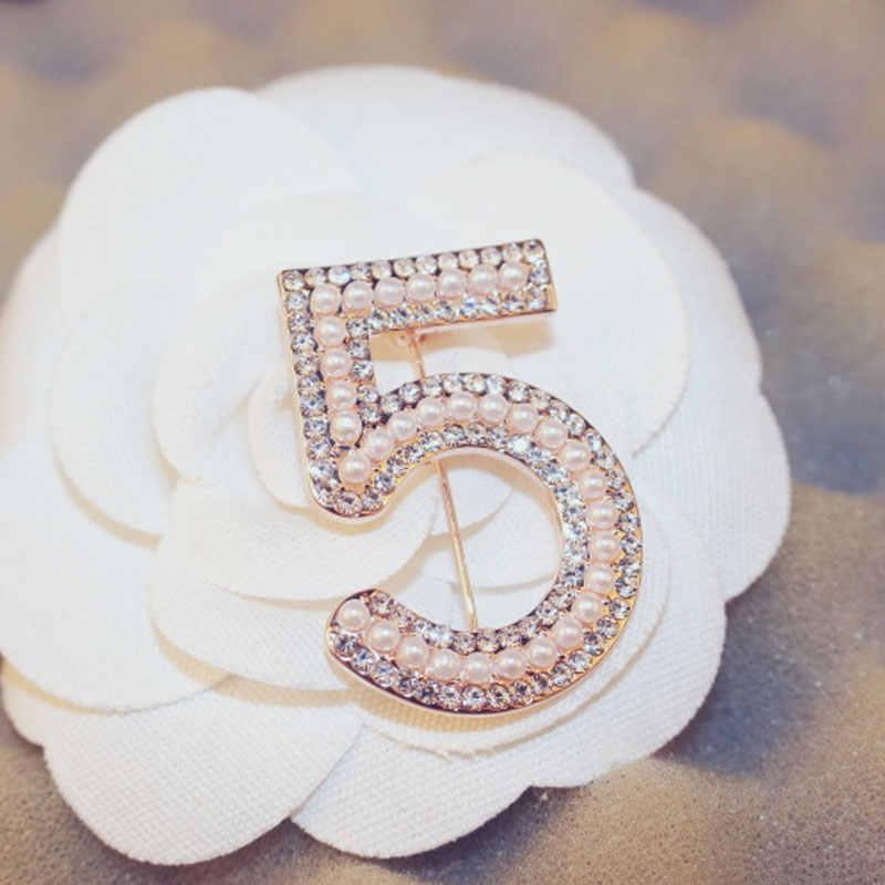 Fashion Bros Pin untuk Wanita Bros Mutiara Berlian Imitasi Kerah Pin Nomor 5 Bros Pesta Pernikahan Hadiah
