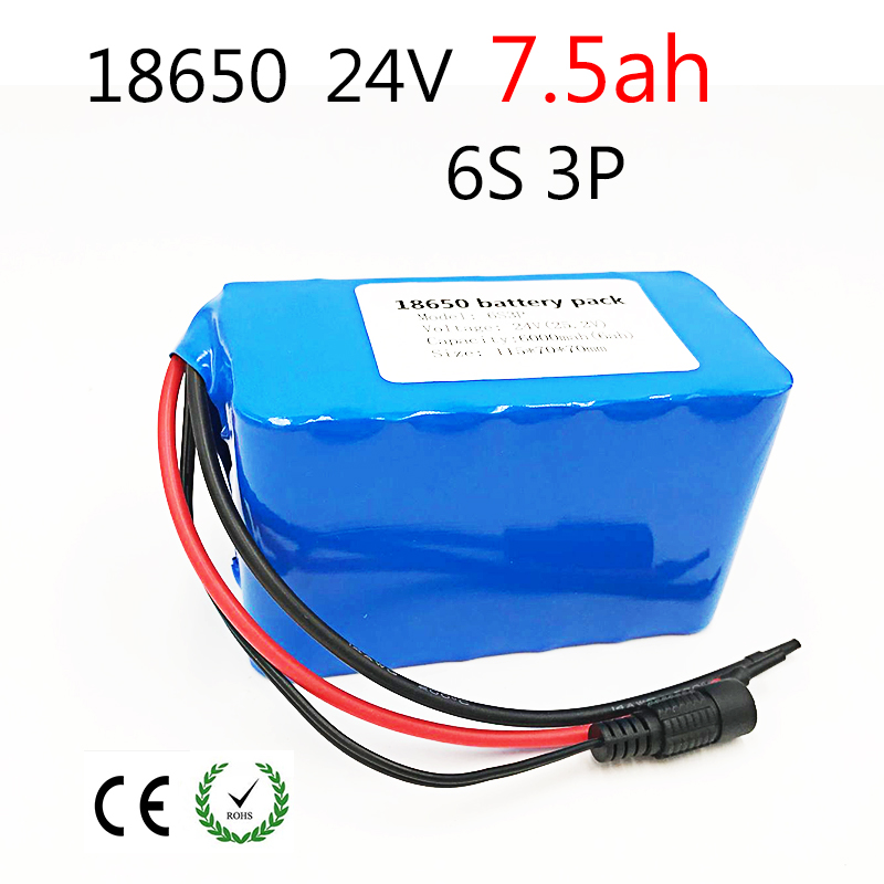 24V Battery Pack 25.2V 7.5Ah 18650Battery 7500mAh Rechargeable Battery For GPS Navigator/Camera/Golf Car/Electric Bike/LED/Light24V Battery Pack 25.2V 7.5Ah 18650Battery 7500mAh Rechargeable Battery For GPS Navigator/Camera/Golf Car/Electric Bike/LED/Light