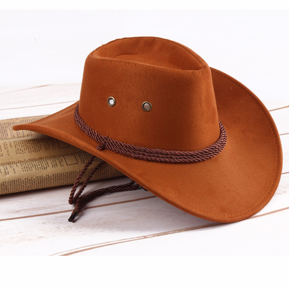 Retro Western <font><b>Cowboy</b></font> Cowgirl <font><b>Hat</b></font> Men Riding Cap Fashion Wide Brim Crushable image