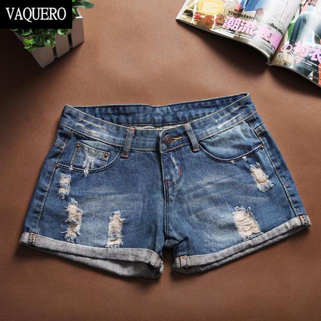 Pantalones Cortos Mujer вакерос жаркое лето стиль не старинные разорвал тощий середине талии отверстия джинсовые шорты для женщин 368
