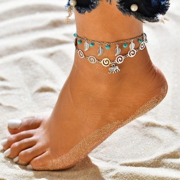 3 pcs/Set Vintage Statement Crystal Sequins Anklet Set Beach Foot jewelry Boho Style Party Summer Jewelry For Women Wholesale 2