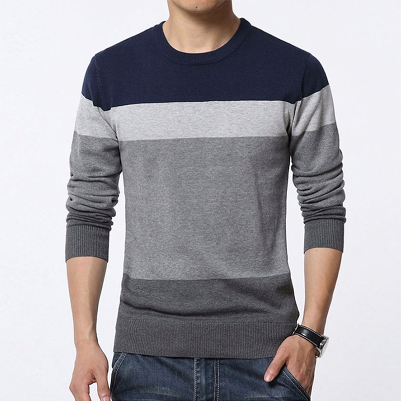 Autumn Men's Striped Trend Casual Sweater Long-sleeved Thin Round Neck Men's Sweater Pullover Men's Triped Slim Sweater