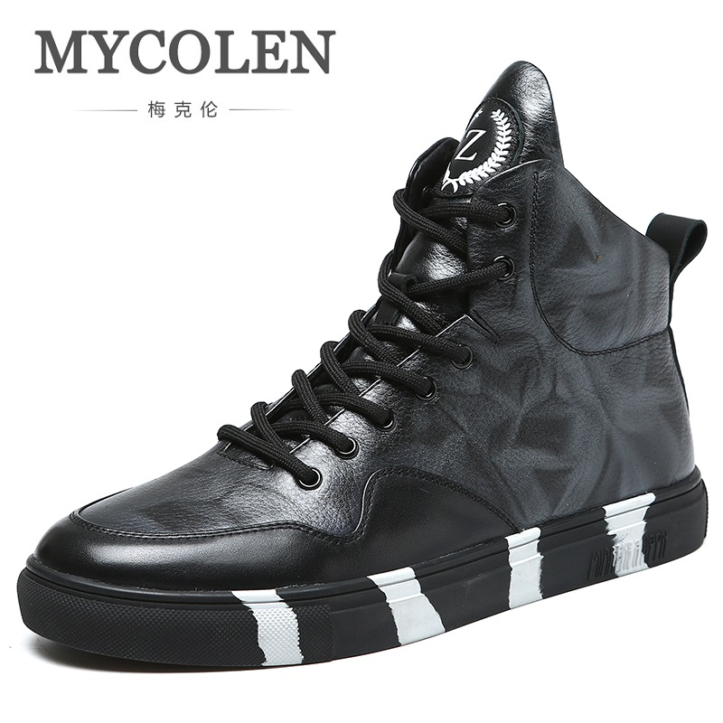 MYCOLEN 2018 New Brand Top Quality Shoes Hip-Hop Men Lace Up Super Warm Leather Winter Boots Fashion High-Top Men Ankle Boots цена