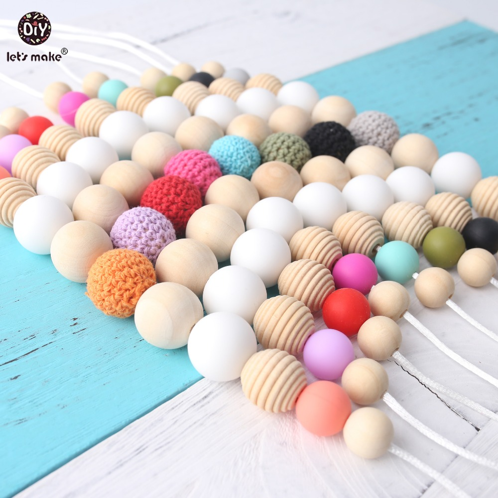Купить с кэшбэком Let's Make 1PC Crochet Beads Necklace BPA Free Silicone Beads DIY Crafts Food Grade Materials Baby Gift Teething ToyBaby Teether