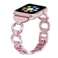 Bling Ремешок для Apple Watch Diamond Band со стразами Нержавеющаясталь металлический ремешок для iWatch 4/3/2/1 браслет ремень 82003
