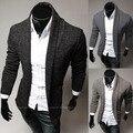 2014 nuevo otoño e invierno 3 Color sólido línea moda Cardigan de punto Mens suéteres Slim fit prendas de vestir exteriores ocasional Mans ropa M-XXL
