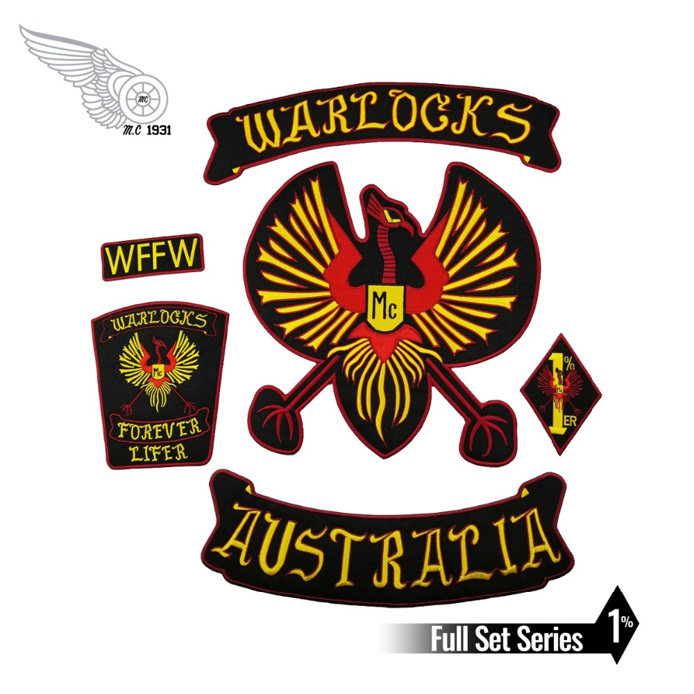 NEW ARRIVAL WARLOCKS Motorcycle <font><b>Patch</b></font> <font><b>1</b></font>% Biker Rider Vest <font><b>MC</b></font> Embroidered Iron On Back of Jacket <font><b>Patch</b></font> DIY G0434 Free Shipping image