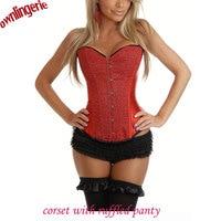 Spedizione gratuita e trasporto di goccia bustier elegante red sequin corset + panty arruffato, donna top macchia shapwear corsetto set w7058
