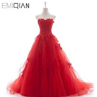 Real Photos New Fashion Strapless A Line Sweetheart Appliqued Red Gown Evening Dress Long