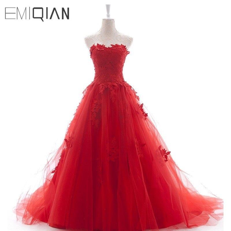 Vraies Photos nouvelle mode sans bretelles une ligne chérie appliqué robe de soirée robe rouge longue