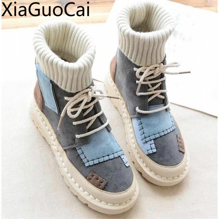 Sneakers Boots Velvet Nubuck Lace-Up Round-Toe High-Top Warm Autumn Winter Casual Women's