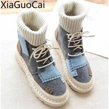 Осенне-зимние женские ботинки с высоким берцем, Теплые повседневные кроссовки из нубука и бархата, студенческие ботинки на плоской подошве с круглым носком на шнуровке