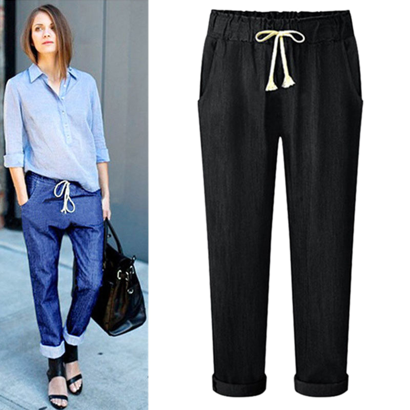 Women Solid Drawstring Elastic Waist Jeans Harem Pants Ladies Casual High Waist Loose Denim Trousers Long Pencil Pant Plus Size in Jeans from Women 39 s Clothing