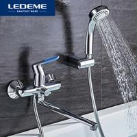 LEDEME 1 Set Bathtub Faucet Cold And Hot Water Mixer Chrome Shower Tap Long Nose Single