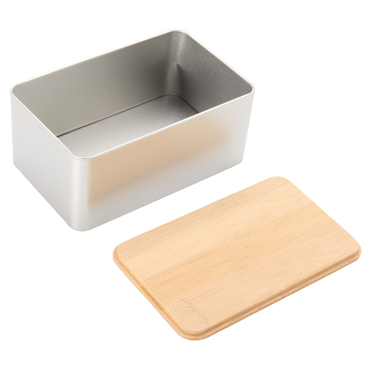 Kitchen Metal Storage Box With Bamboo Lid Bins Bread Sugar Boxes Tea Herb Stoarge Holder Food Containers Organizer Supplies 1
