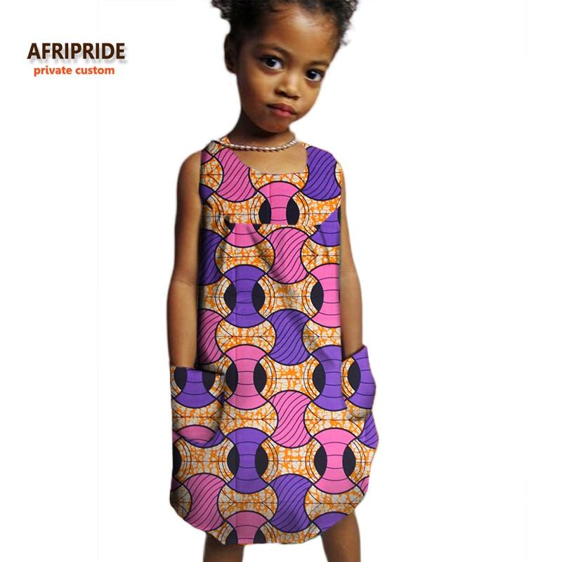 2018 καλοκαιρινά παιδικά ρούχα AFRIPRIDE ιδιωτικό έθιμο περιστασιακό παιδικό φόρεμα χωρίς μανίκια άνω γόνατο 100% βαμβάκι άνετο A724504