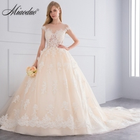 Miaoduo 2018 Vestido De Noiva Ball Gown Vintage Red Champagne Wedding Dresses Lace Appliques Crystal Wedding