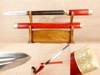Китайская практика короткие мечи ручной работы Дамасская сталь декоративный ремесла меч настоящий меч Китай красный