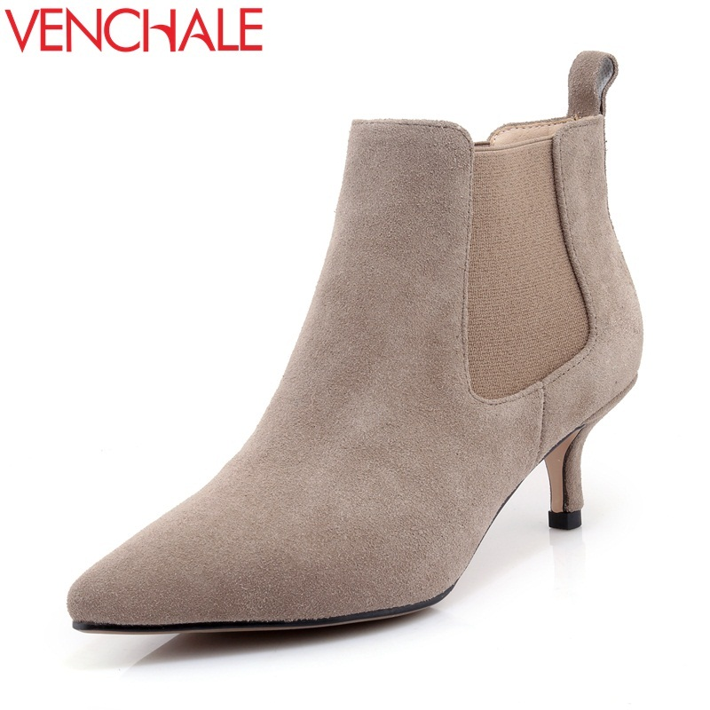 VENCHALE fashion ankle boots woman high heels pointed toe cow suede winter party shoes good quality ladies winter shallow bootie 2018 fashion winter shoes cow suede high heels solid pointed toe zipper handmade warm european style sweet women ankle boots l26