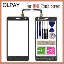 Olpay 5.0 phone phone vidro frontal do telefone para micromax q341 q 341 tela de toque digitador painel vidro ferramentas esparadrapo livre + toalhetes