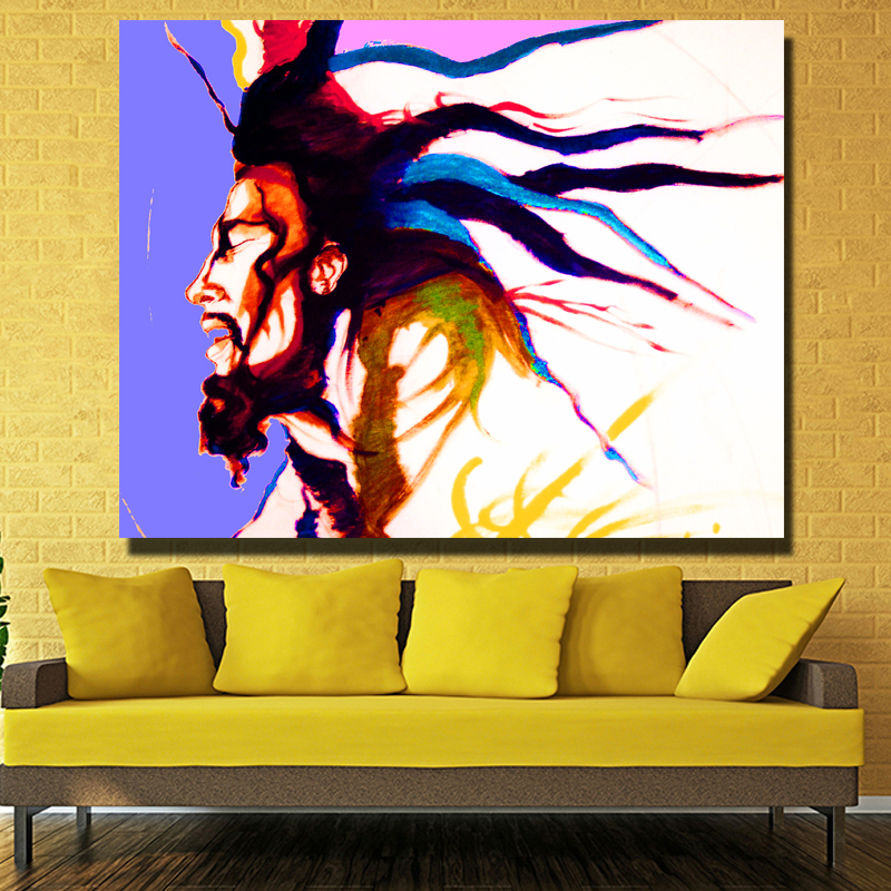 Picture wall art HD print canvas oil painting Singer Bob Marley for ...