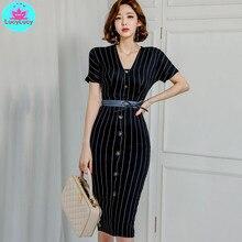 Women's 2019 summer OL professional temperament V-neck striped thin high waist bag hip dress female V-Neck  Regular