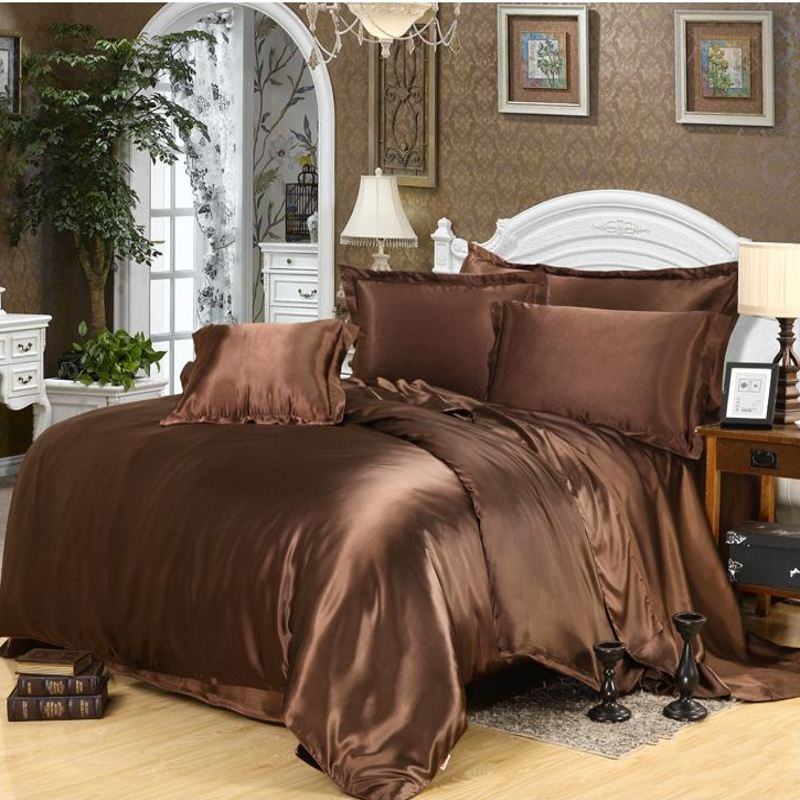 Brown Imitated Silk Satin Duvet Cover Queen King Size 4Pcs