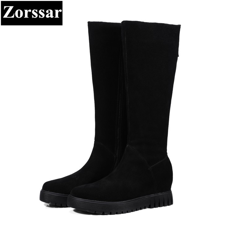 {Zorssar} 2017 NEW winter Womens shoes cow suede platform Height Increasing Knee-high snow Boots fashion women boots winter ppnu woman winter nubuck genuine leather over the knee snow boots women fashion womens suede thigh high boots ladies shoes flats