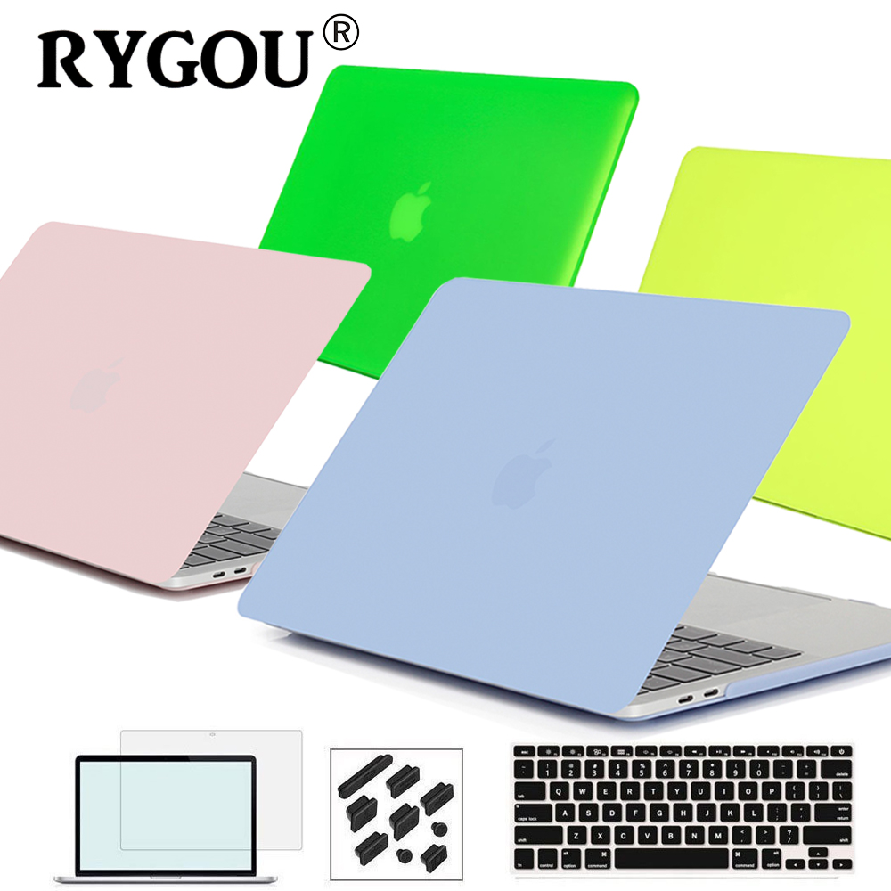 RYGOU Crystal Clear Matte Rubberized Hard Case for Macbook Pro 13.3 15.4 Pro Retina 12 13 15 inch Macbook Air 11 13 Laptop Shell enkay crystal hard protective case for 13 inch macbook pro with retina display orange