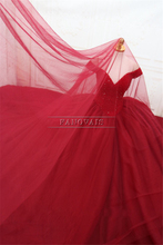 Gorgeous Real Photo Burgundy Ball Gown Evening Dress V-Neck Top Beaded Princess Prom Dress Evening Gown Vestido de Fiesta ASAE34