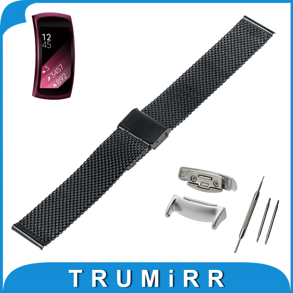 18mm Milanese Watch Band + Adapters for Samsung Gear Fit 2 SM-R360 Smart Watchband Mesh Stainless Steel Strap Wrist Bracelet 20mm watch band milanese mesh stainless steel strap bracelet for samsung gear s2 classic sm r7320 moto 360 2 2nd gen 42mm 2015