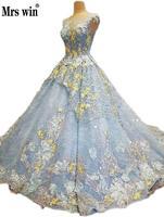 Đầy màu sắc Wedding Dress 2018 Ren Hoa Thêu Tay Sweep Train Sang Trọng Màu Xanh Gowns Zipper Europ Mỹ Cô Dâu DressC