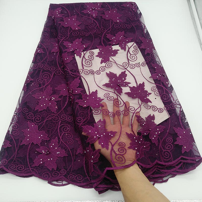 New Purple African Lace Fabric Embroidered Nigerian Guipure For Wedding High Quality 2019 French Tulle Lace Fabric With Beads