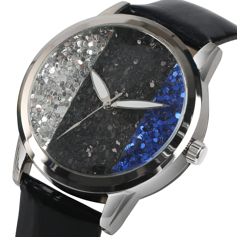 Fashion Women Watches Glitter Mixcolor Bling Dial Ladies Quartz Wristwatch PU Leather Band Beauty Analog Casual Clock Gift female simple fashion casual wrist watch women love heart dial leather band analog alloy quartz wristwatch loves gift