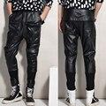 Nuevo 2016 Fashion faux leather harem hombres tiro caído hombres pantalones holgados pantalones casuales pantalones de moda cintura elástica pantalones Envío gratis