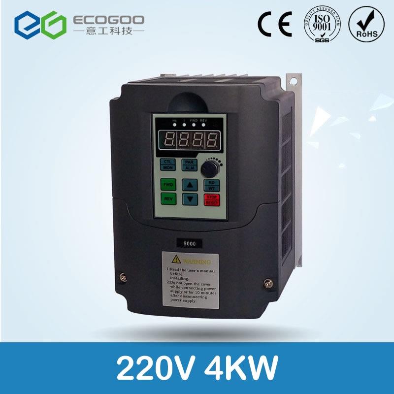 Para ruso CE 220 V 4kw 1 entrada de fase y convertidor de frecuencia de salida de 220 v 3 fases/unidad de motor de CA/VSD/VFD/inversor de 50Hz