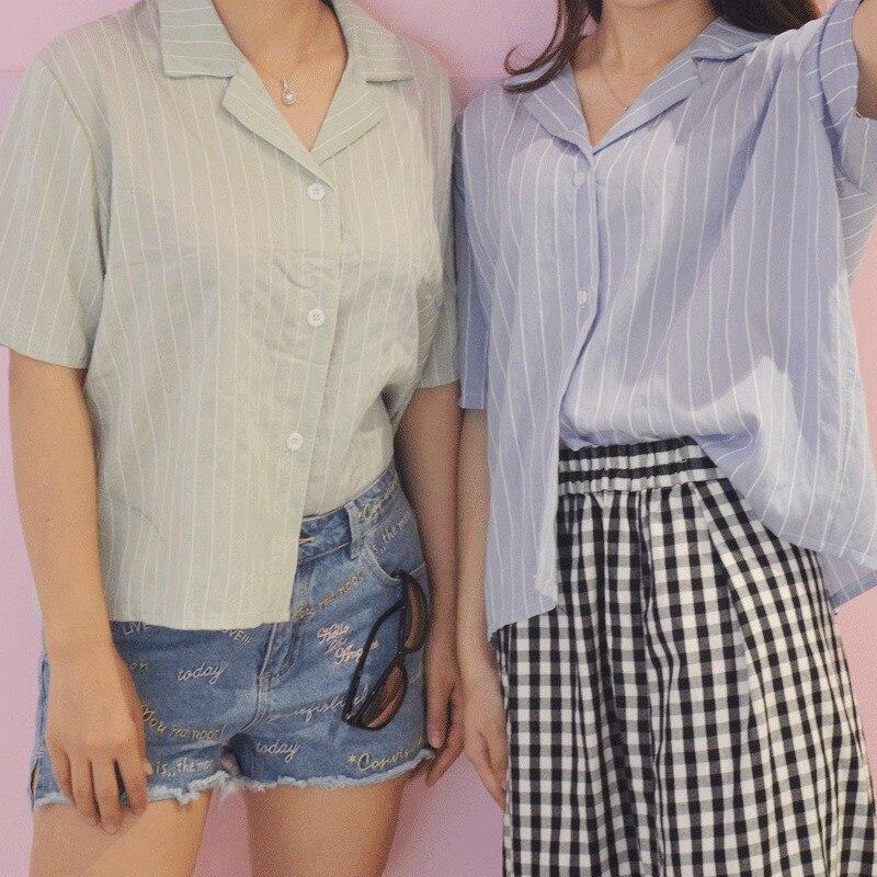 Striped Female Tops Turn-down Collar Casual Women   Blouse     Shirt   Short Sleeve   Blouse   Blusas