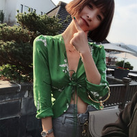 Short Floral Blouse Women Long Sleeve Deep V Neck Tie Up Style Silk Spring Summer Sexy