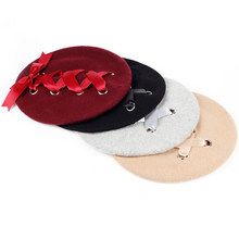 dddbd9160e7a9 2017 New Sweet Cute Berets Women Winter Hats Soft Macaron color Ribbon  Woolen Lolita Beret classical Soft Straps Cross Bow