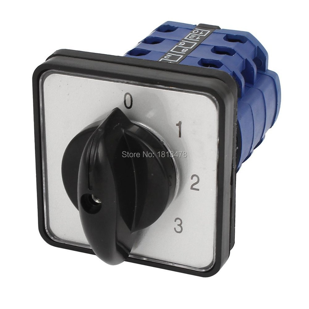 CA10 660V 12A 3Pole Universal Changeover Rotary Switch Blue Black