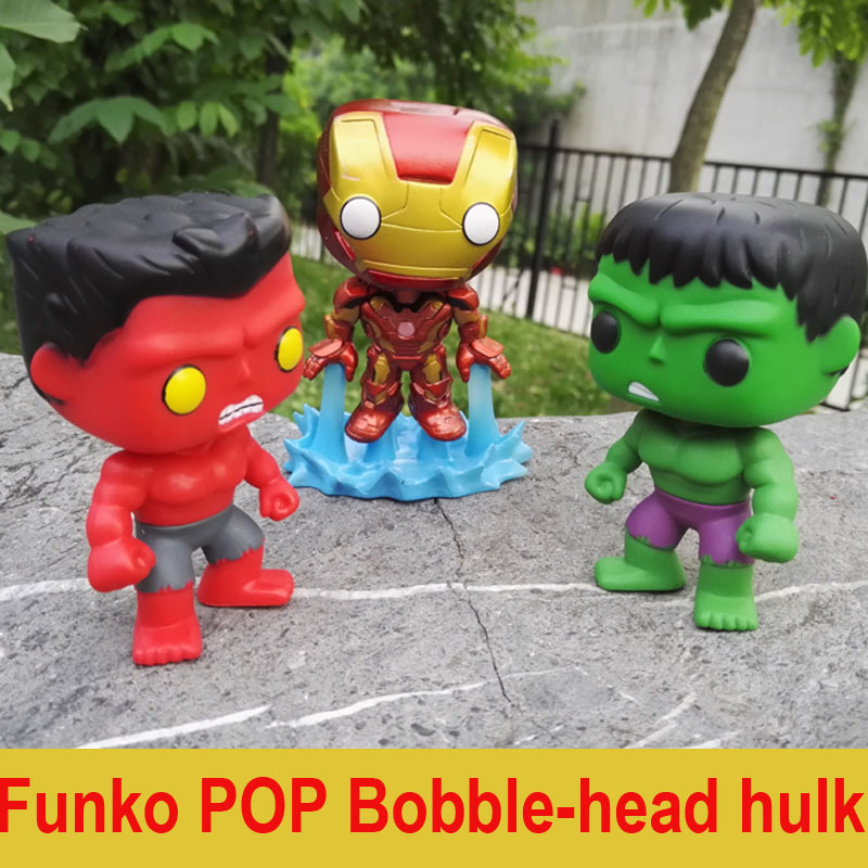 FUNKO POP Marvel The Hulk No.08 Red Hulk No.31 Iron Man Vinly Bobble-head PVC Action Figure  Collectible Model Toy gift for kids  funko pop marvel batman 84 pvc action figure collectible model toy 12cm kt2370