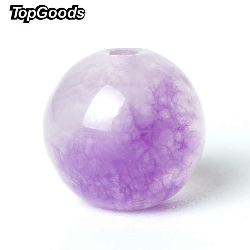 "TopGoods ธรรมชาติลูกปัดอัญมณีสีม่วงสีม่วง Jasper หลวมลูกปัด 6/8/10 มม. 15 ""หินหยกควอตซ์อัญมณีสำหรับสร้อยข้อมือ"