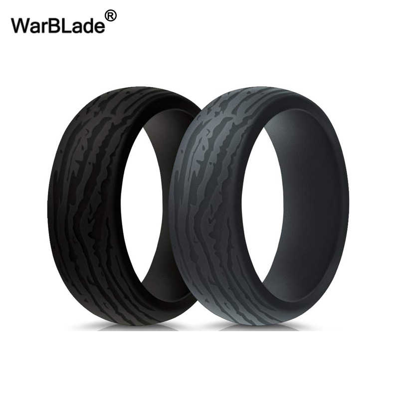 WarBLade Men Silicone Rings 8.7mm Bark pattern Hypoallergenic Flexible Sports Antibacterial Silicone Finger Rings Rubber Bands