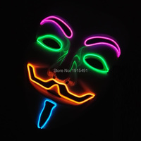 Cute Masquerade decorative LED Neon Mask Holiday Lighting Blinking EL wire Mask with Function of Sound Activated and Flashing